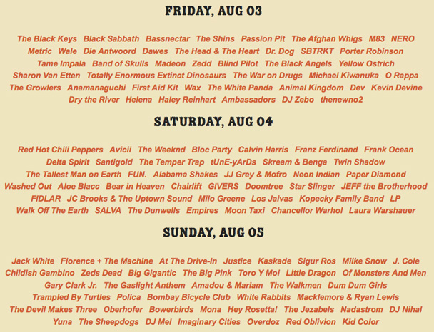 Lollapalooza - Who's Playing Where? Plan Your Adventure
